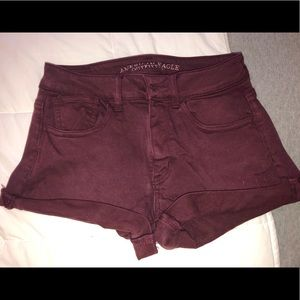 american eagle burgundy super stretch shorts